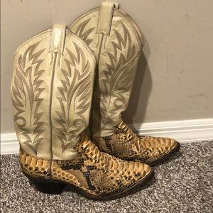 Vintage Justin leather snake skin boots